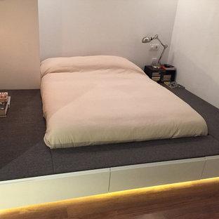 Imagen de dormitorio principal, actual, pequeño, con paredes blancas y tatami