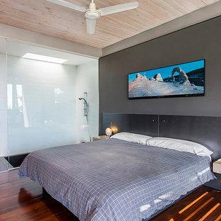 Foto de dormitorio principal, contemporáneo, de tamaño medio, sin chimenea, con paredes grises y suelo de madera oscura