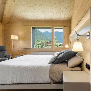 Ejemplo de dormitorio moderno, sin chimenea, con suelo de madera clara