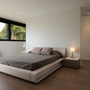 Modelo de dormitorio contemporáneo, grande, con paredes blancas, suelo de madera oscura y suelo marrón