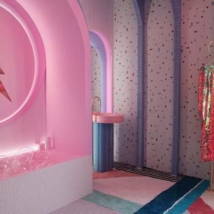 Ejemplo de dormitorio retro con paredes azules