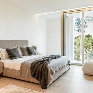 Diseño de dormitorio principal, actual, de tamaño medio, sin chimenea, con paredes blancas, suelo de madera en tonos medios y suelo marrón