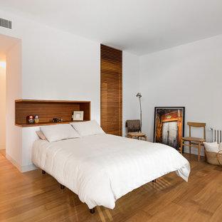 Foto de habitación de invitados vintage, grande, sin chimenea, con paredes blancas y suelo de madera en tonos medios