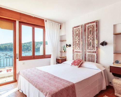 maritime schlafzimmer mit backsteinboden ideen design bilder houzz. Black Bedroom Furniture Sets. Home Design Ideas