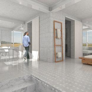 Foto de dormitorio tipo loft, actual, grande, con paredes blancas, suelo de cemento, estufa de leña y suelo gris