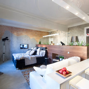 Inspiration for a small modern loft-style bedroom in Barcelona with grey walls, grey floor and concrete floors.