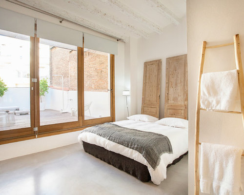 chambre scandinave avec un sol en b ton photos et id es d co de chambres. Black Bedroom Furniture Sets. Home Design Ideas