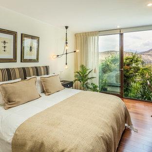 Diseño de dormitorio principal, contemporáneo, con suelo de madera oscura, paredes beige y suelo marrón