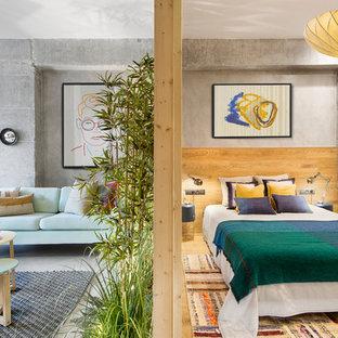 Modelo de dormitorio urbano, de tamaño medio, sin chimenea, con paredes grises