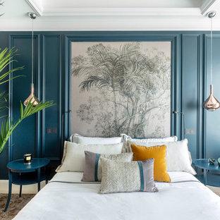 Foto de habitación de invitados contemporánea con paredes azules