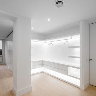 Foto de dormitorio principal, moderno, grande, con paredes blancas, suelo de madera en tonos medios y suelo marrón