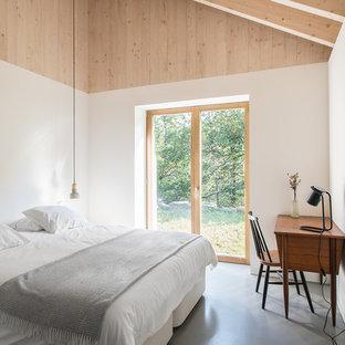 Diseño de dormitorio principal, escandinavo, de tamaño medio, sin chimenea, con paredes blancas, suelo de cemento y suelo gris