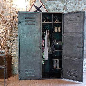 Armoire métal années 50 industriel vintage dressing penderie