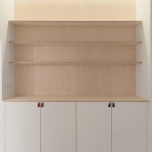 Ispirazione per armadi e cabine armadio unisex design con ante bianche, pavimento in legno verniciato e pavimento bianco