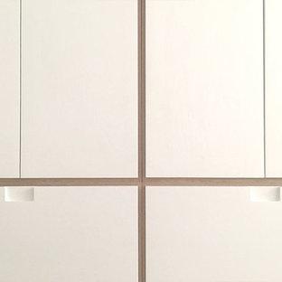 Ispirazione per un piccolo armadio o armadio a muro unisex minimal con ante a filo, ante bianche e parquet chiaro