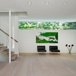 Moderner Eingang mit Foyer, weißer Wandfarbe, hellem Holzboden und Glastür in Hamburg