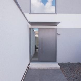 Moderne Haustür mit weißer Wandfarbe, Schieferboden, Doppeltür und grauer Tür in Stuttgart