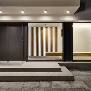 Cette image montre un grand hall d'entrée design avec un mur blanc, une porte simple, une porte grise et béton au sol.