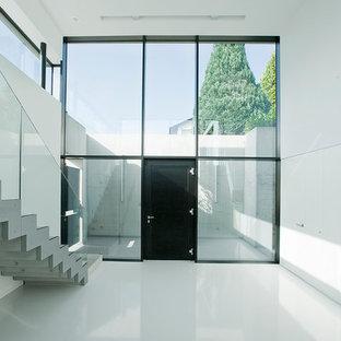 Foto de distribuidor moderno, extra grande, con paredes blancas, puerta simple, puerta negra y suelo vinílico