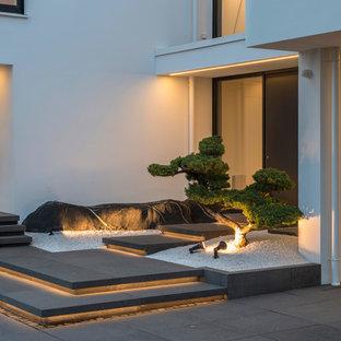 Mittelgroßer Moderner Eingang Mit Weißer Wandfarbe, Betonboden, Einzeltür,  Schwarzer Tür Und Schwarzem Boden
