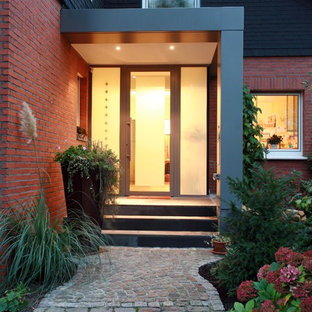 Example of a mid-sized trendy entryway design in Other with red walls and a glass front door
