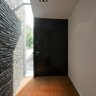 Große Moderne Haustür Mit Weißer Wandfarbe, Dunklem Holzboden, Schwarzer  Tür Und Einzeltür In Sonstige