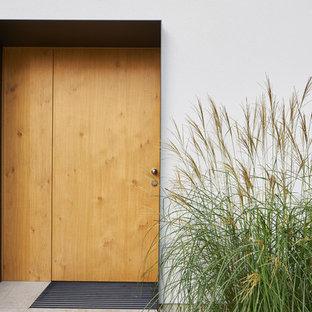 ケルンの片開きドアモダンスタイルのおしゃれな玄関 (ラミネートの床、淡色木目調のドア) の写真