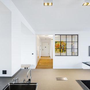 Modelo de distribuidor urbano, grande, con suelo de madera clara, puerta simple, paredes blancas, puerta blanca y suelo marrón