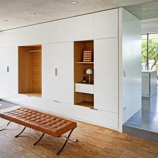 Modelo de vestíbulo posterior contemporáneo, de tamaño medio, con paredes blancas y suelo de madera en tonos medios