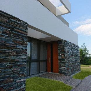 Inspiration för en stor funkis ingång och ytterdörr, med vita väggar, kalkstensgolv, en pivotdörr, mörk trädörr och grått golv