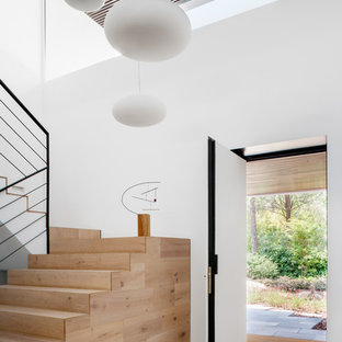 Example of a large trendy travertine floor entryway design in Madrid with white walls and a white front door