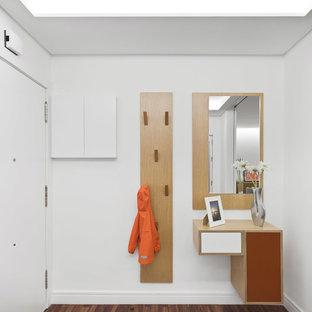 Diseño de entrada actual con paredes blancas, suelo de madera oscura, puerta simple, puerta blanca y suelo marrón