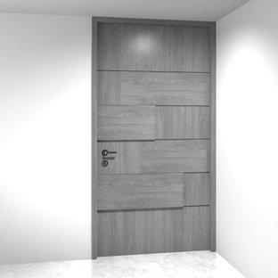 Idéer för en mellanstor modern ingång och ytterdörr, med vinylgolv, en pivotdörr och en grå dörr