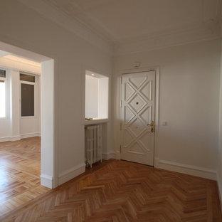 Esempio di un grande corridoio minimal con una porta a pivot e una porta bianca