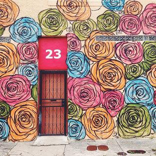 Eklektische Haustür mit bunten Wänden, Einzeltür und Metalltür in Miami