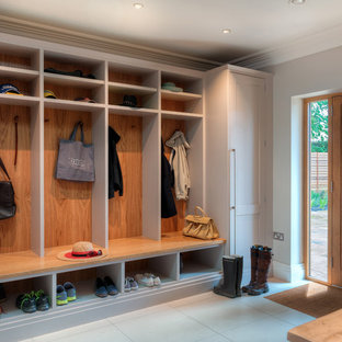 Elegant entryway photo in Berkshire with gray walls and a medium wood front door & 75 Most Popular Home Design Ideas \u0026 Photos Design Ideas for 2018 ...