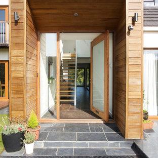 Contemporary front door in Other with medium hardwood flooring, a single front door and a glass front door.