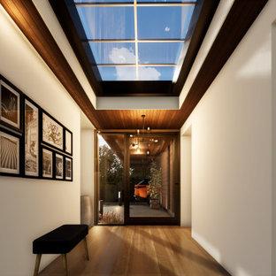 Modern inredning av en mellanstor ingång och ytterdörr, med vita väggar, mellanmörkt trägolv, en pivotdörr och metalldörr
