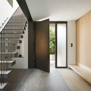 This is an example of a medium sized contemporary foyer in London with white walls, light hardwood flooring, a single front door, a metal front door and beige floors.