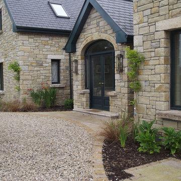 Front entrance granite step & paving