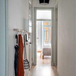 Cette photo montre une petit porte d'entrée tendance avec un mur bleu, sol en stratifié, une porte simple et une porte blanche.