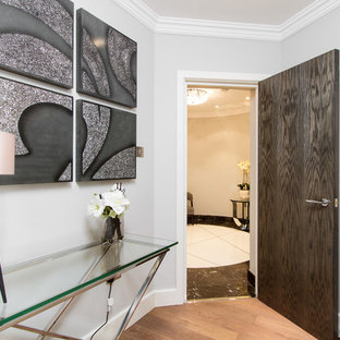 Inspiration for a contemporary foyer in London with grey walls, a single front door and a dark wood front door.