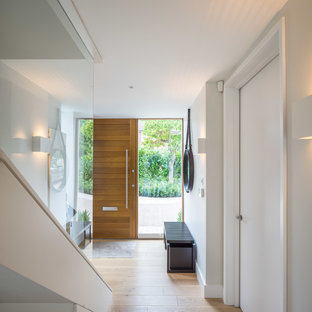 This is an example of a contemporary entrance in London with light hardwood flooring, grey walls, a single front door and a medium wood front door.
