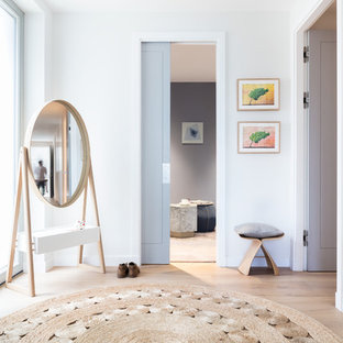 Mid-sized transitional entry hall in London with grey walls and light hardwood floors.