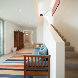 Esempio di un corridoio moderno di medie dimensioni con pareti bianche, pavimento con piastrelle in ceramica, una porta a pivot, una porta bianca, pavimento grigio e soffitto ribassato