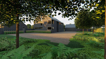 One acre garden for an ultramodern new build house in rural Suffolk