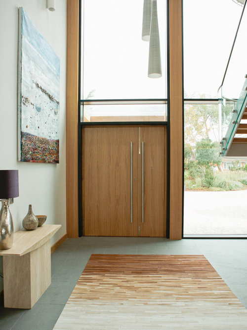 Design Ideas For A Contemporary And Modern Front Door In Devon With White Walls Ceramic
