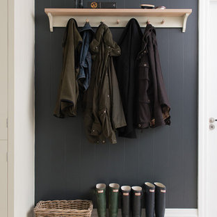 Design ideas for a large contemporary boot room in Gloucestershire with grey walls.