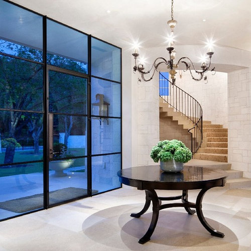 Metal and glass doors houzz tuscan entryway photo in new york with a glass front door planetlyrics Image collections