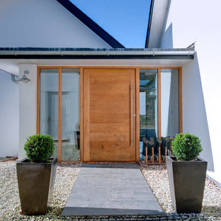 Inspiration for a contemporary front door in Cornwall with a single front door and a medium wood front door.
